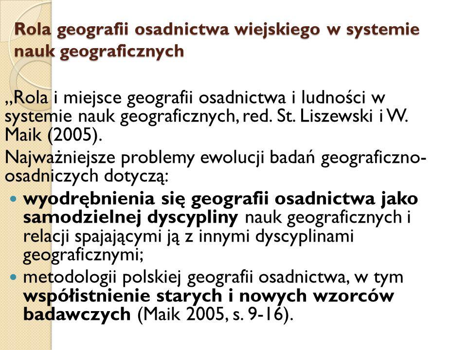 Rola geografii osadnictwa wiejskiego w systemie nauk geograficznych