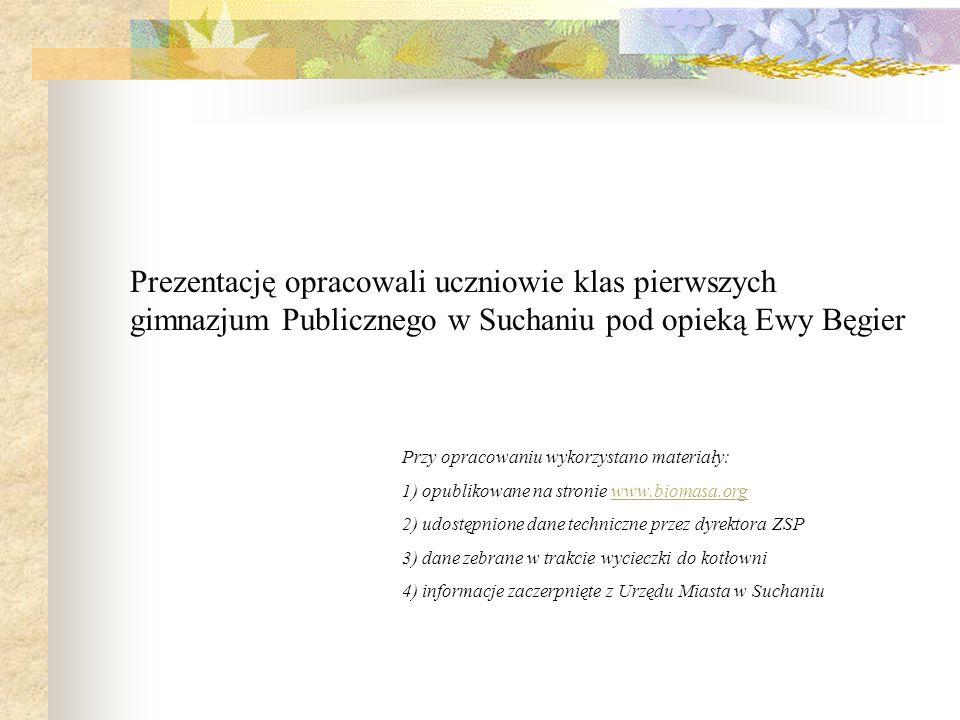 Prezentację opracowali uczniowie klas pierwszych gimnazjum Publicznego w Suchaniu pod opieką Ewy Bęgier