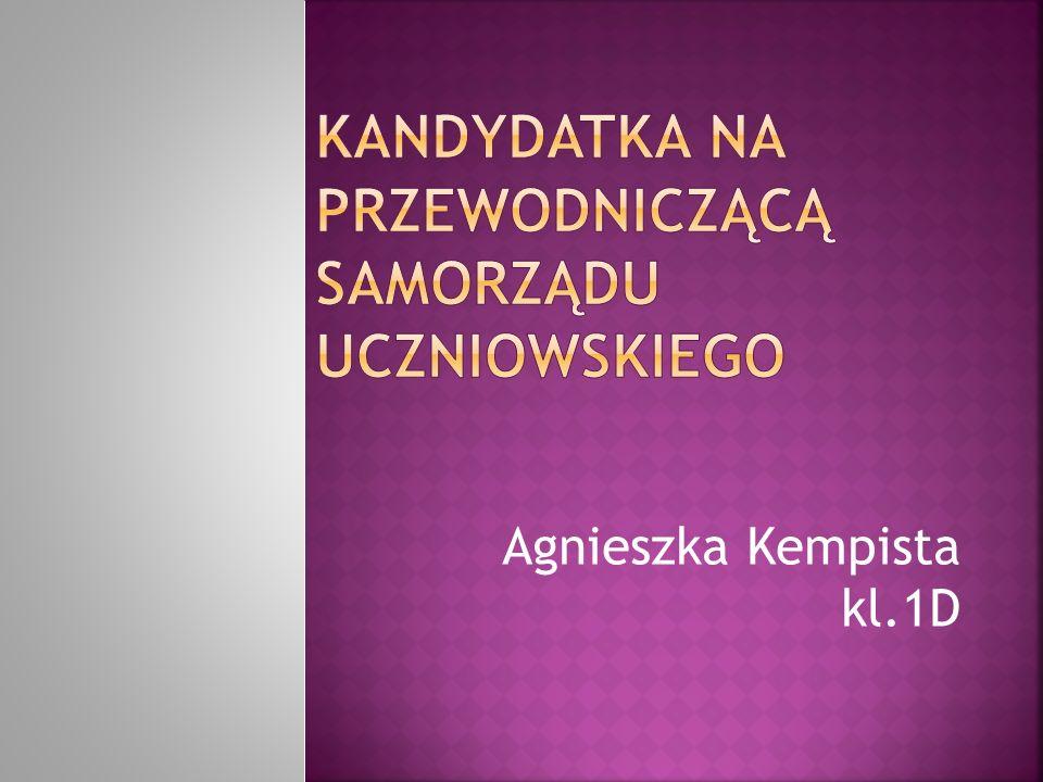 Kandydatka na przewodniczącą Samorządu uczniowskiego