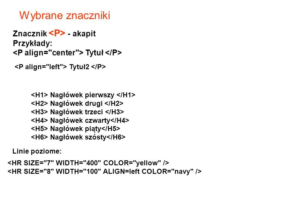 Wybrane znaczniki Znacznik <P> - akapit Przykłady: