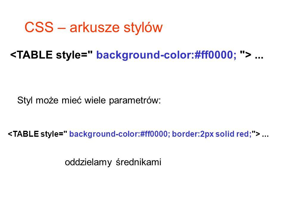 CSS – arkusze stylów <TABLE style= background-color:#ff0000; > ... Styl może mieć wiele parametrów: