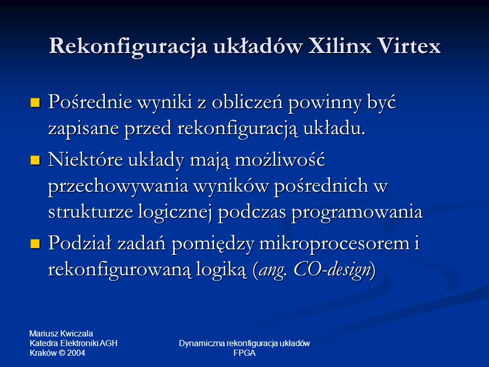Rekonfiguracja układów Xilinx Virtex
