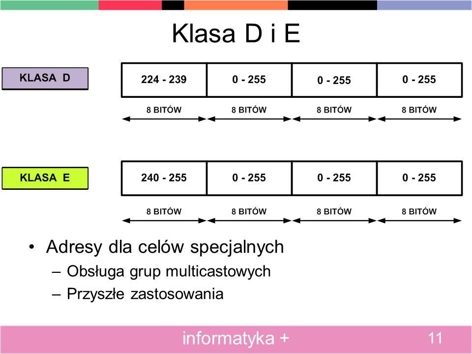 Klasa D i E Adresy dla celów specjalnych informatyka +