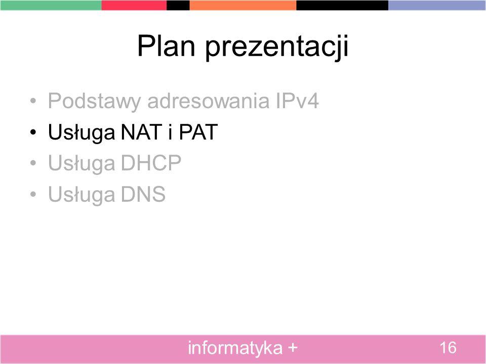 Plan prezentacji Podstawy adresowania IPv4 Usługa NAT i PAT