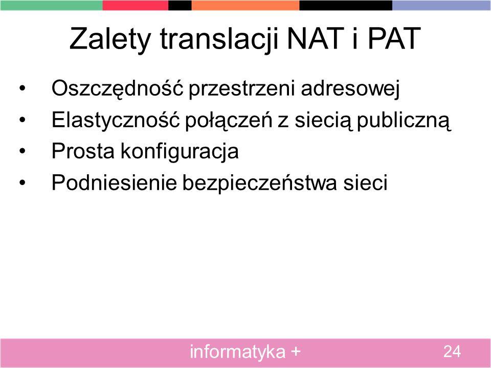 Zalety translacji NAT i PAT