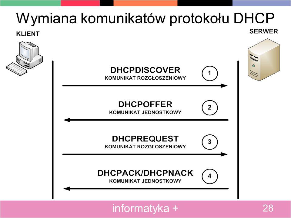 Wymiana komunikatów protokołu DHCP