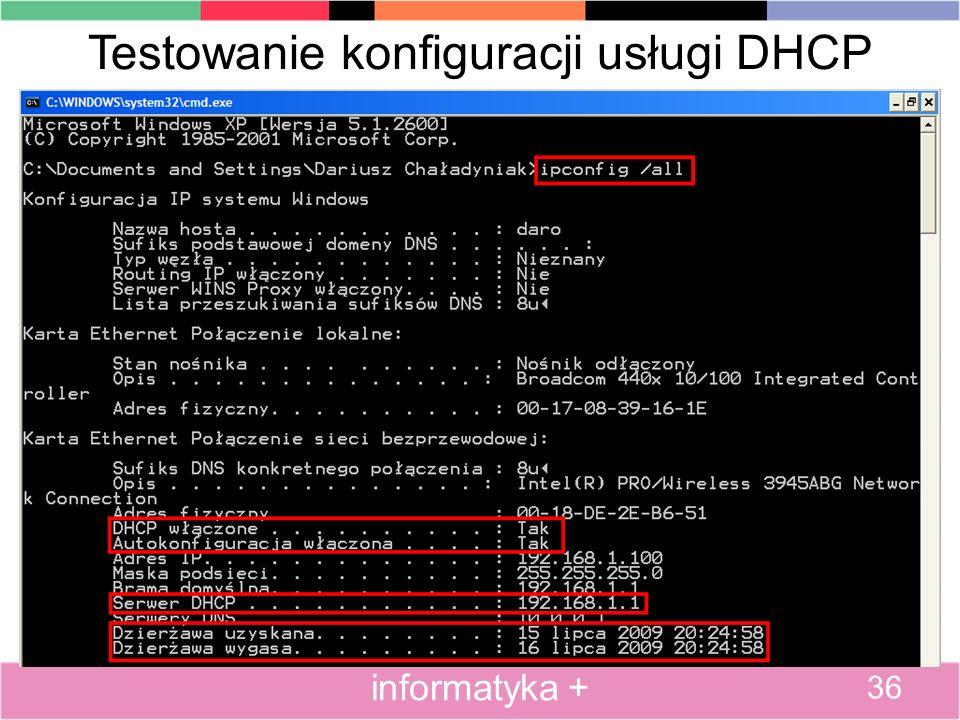 Testowanie konfiguracji usługi DHCP