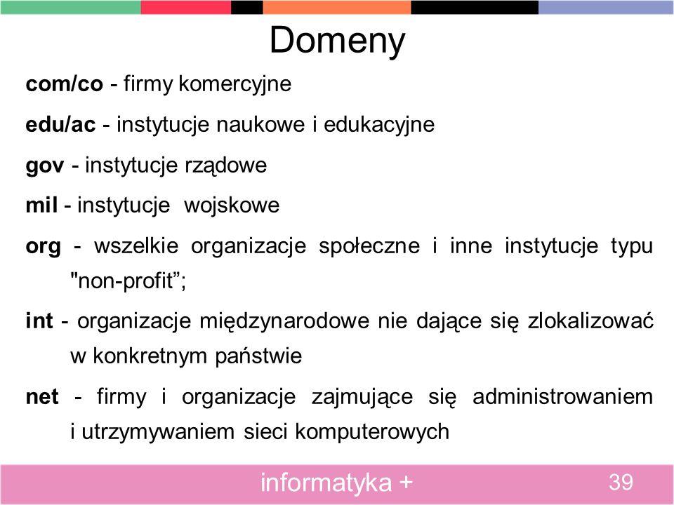 Domeny informatyka + com/co - firmy komercyjne
