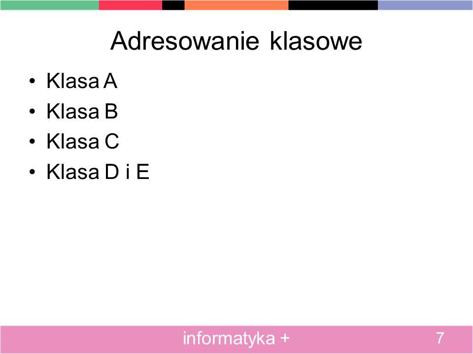 Adresowanie klasowe Klasa A Klasa B Klasa C Klasa D i E informatyka +