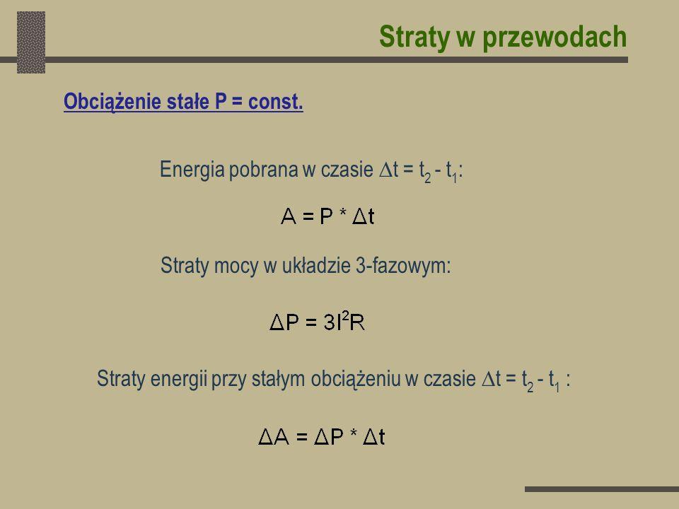 Straty w przewodach Obciążenie stałe P = const.