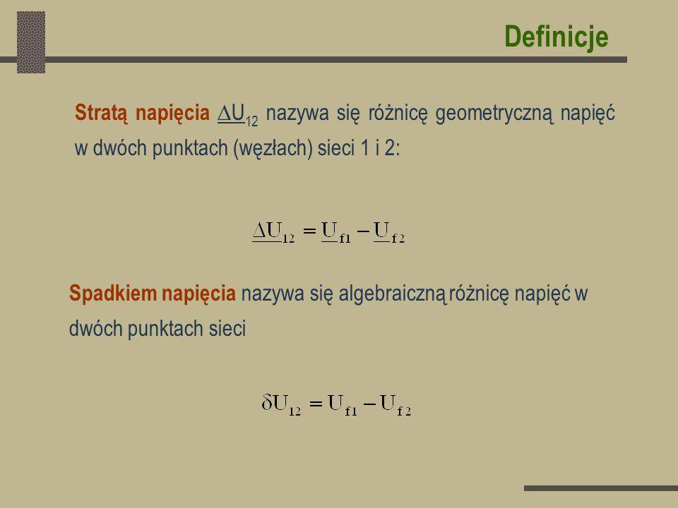 DefinicjeStratą napięcia U12 nazywa się różnicę geometryczną napięć w dwóch punktach (węzłach) sieci 1 i 2: