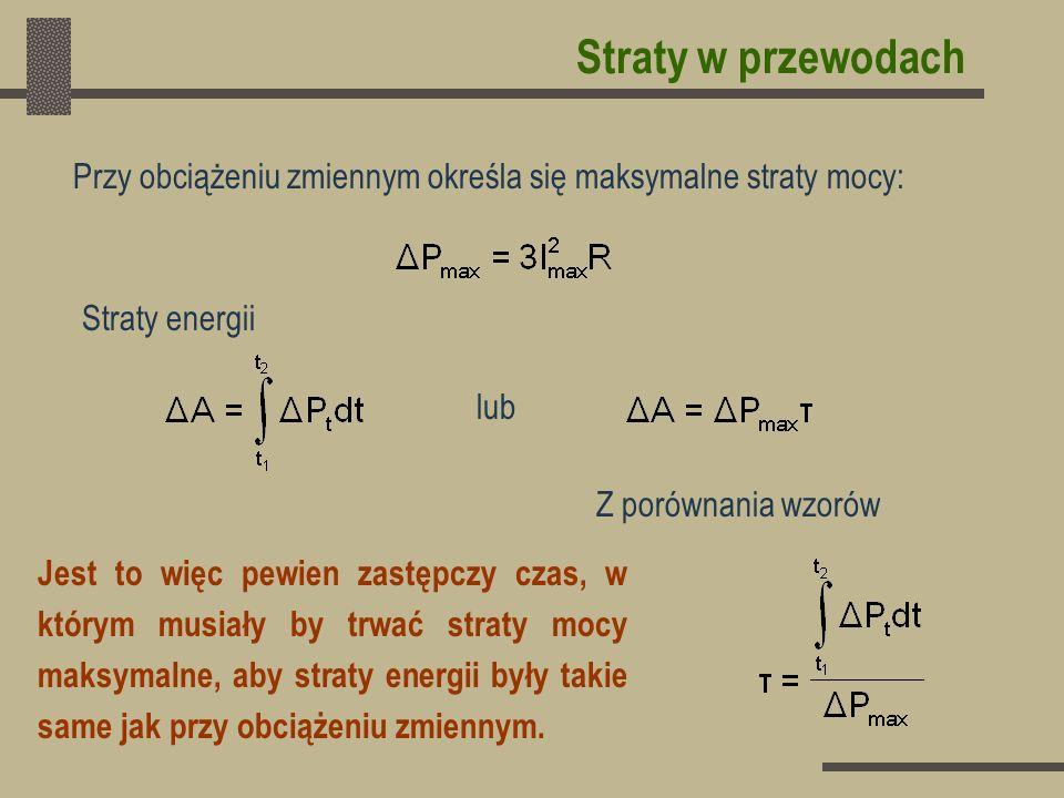 Straty w przewodach Przy obciążeniu zmiennym określa się maksymalne straty mocy: Straty energii. lub.