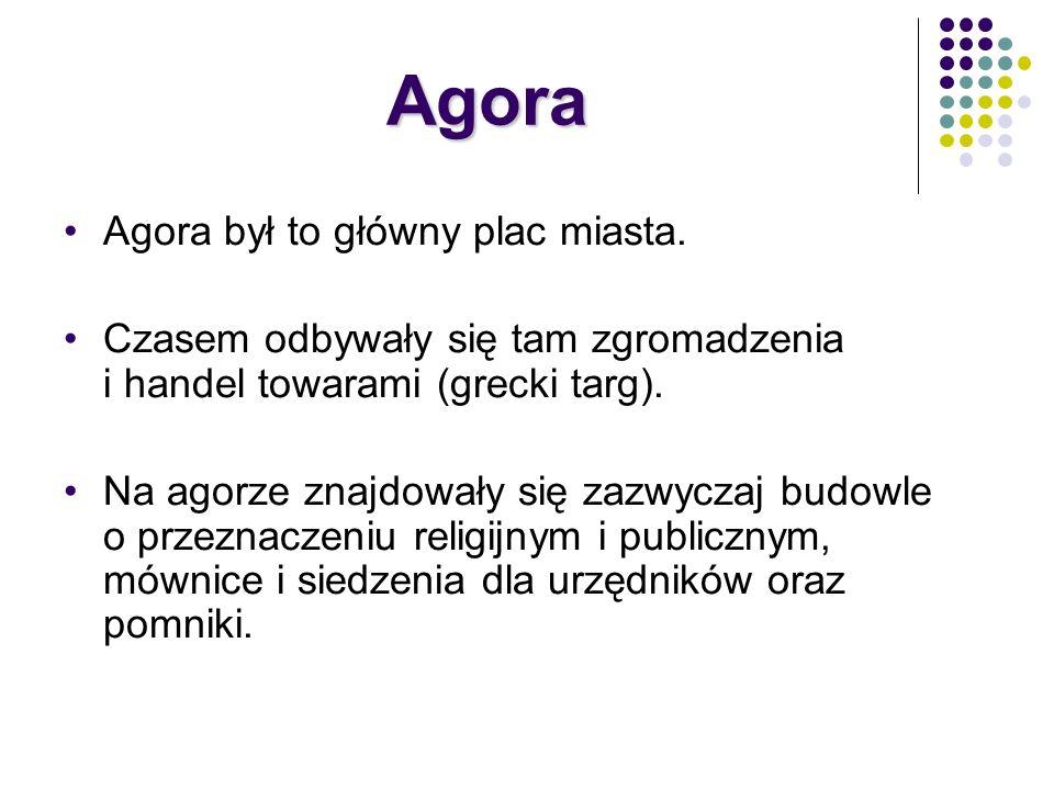 Agora Agora był to główny plac miasta.