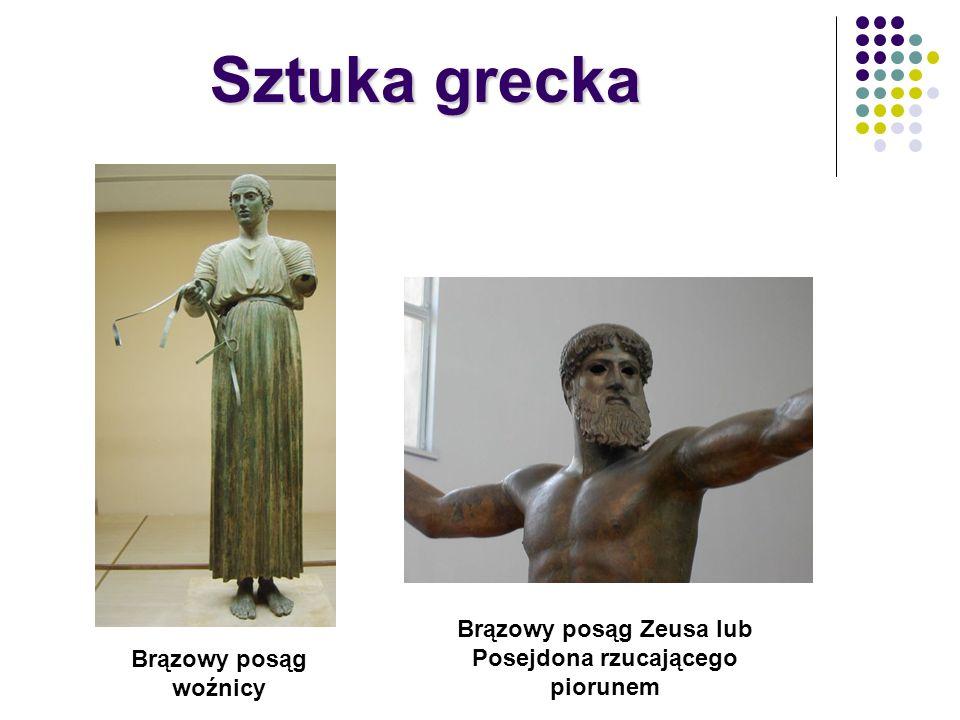 Brązowy posąg Zeusa lub Posejdona rzucającego piorunem