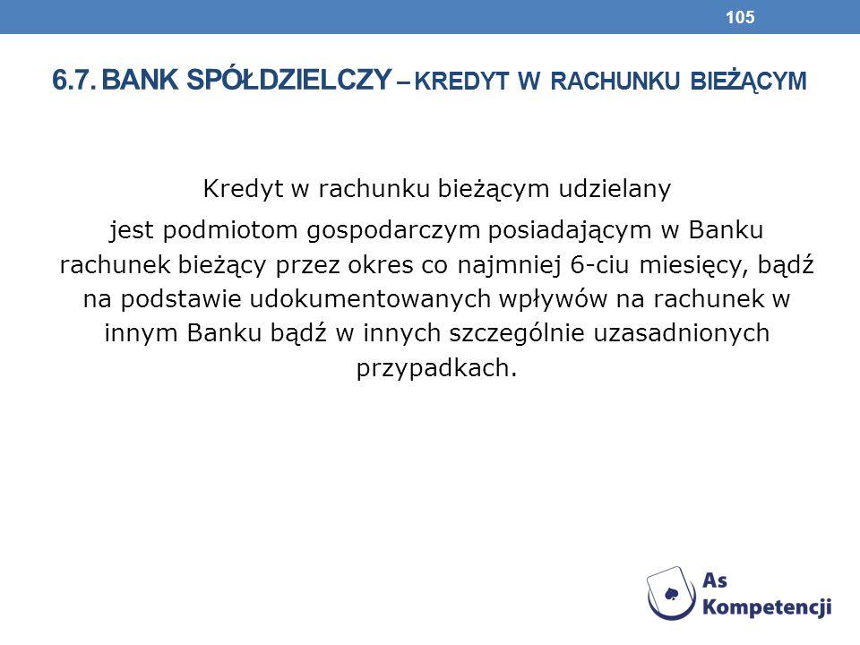 6.7. bank spółdzielczy – kredyt w rachunku bieżącym