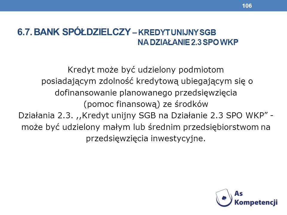 6.7. bank spółdzielczy – KREDYT UNIJNY SGB NA DZIAŁANIE 2.3 SPO WKP