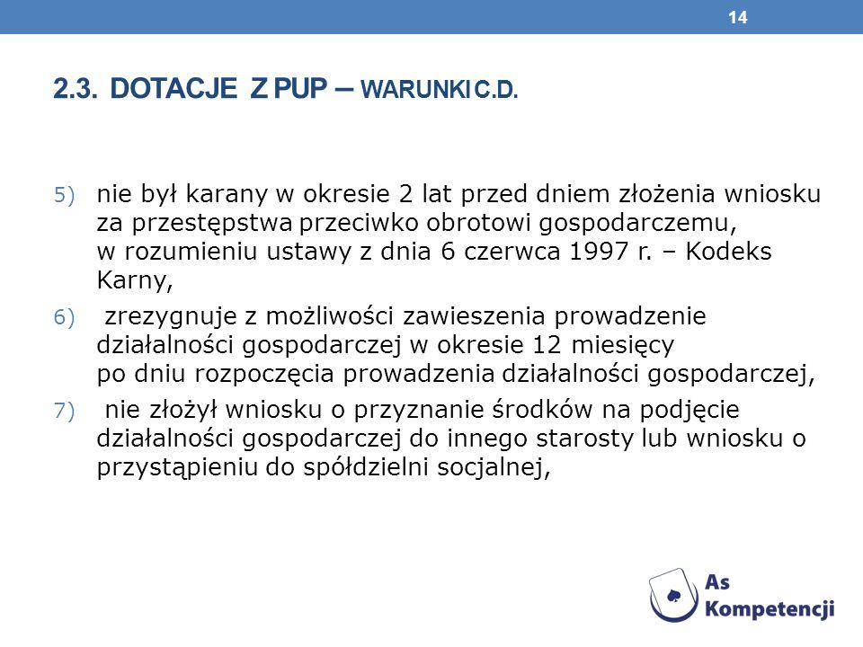 2.3. DOTACJE Z PUP – WARUNKI c.d.
