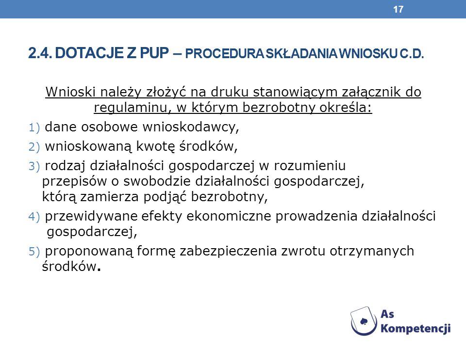 2.4. Dotacje z PUP – procedura składania wniosku c.d.