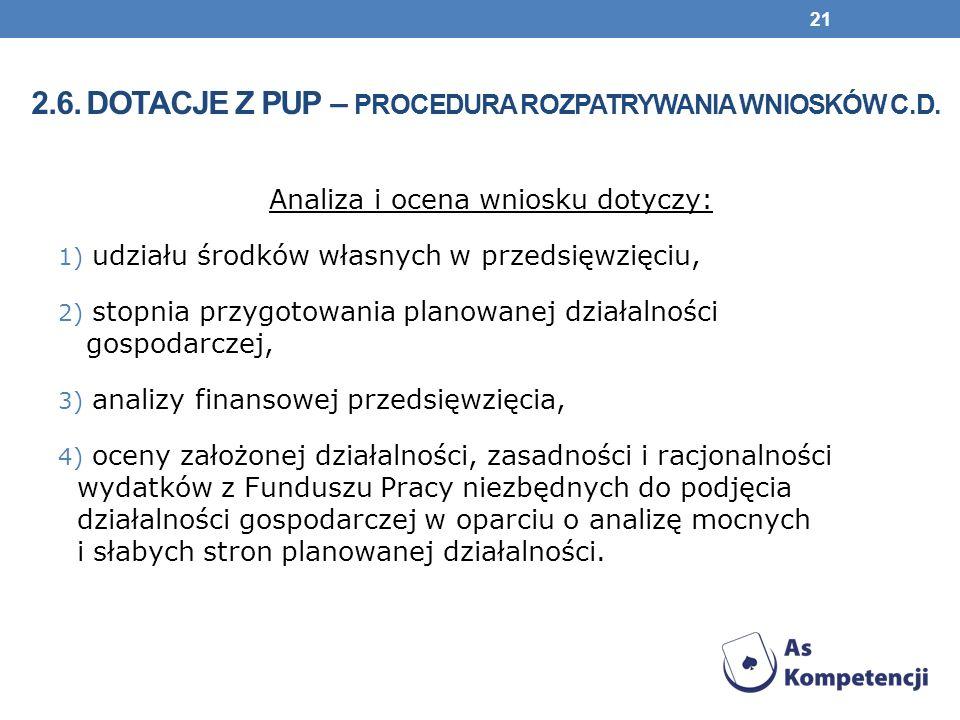 2.6. Dotacje z pup – procedura rozpatrywania wniosków c.d.