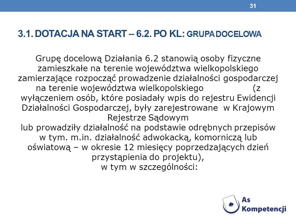3.1. Dotacja na start – 6.2. PO KL: grupa docelowa