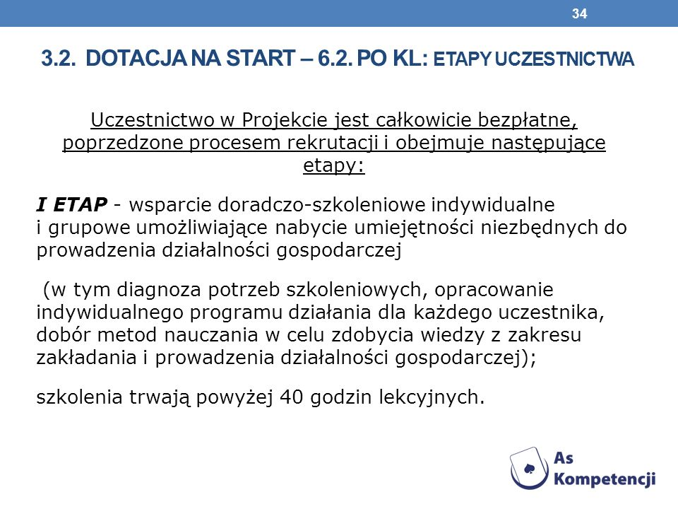 3.2. Dotacja na start – 6.2. PO KL: etapy uczestnictwa