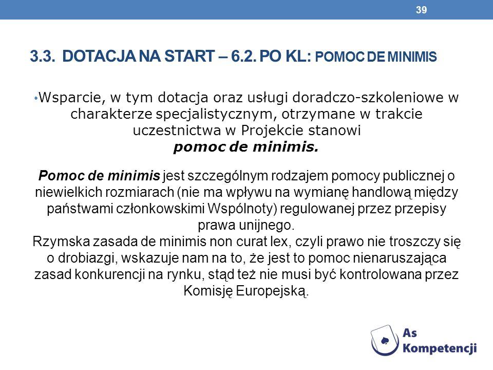 3.3. Dotacja na start – 6.2. PO KL: pomoc de minimis