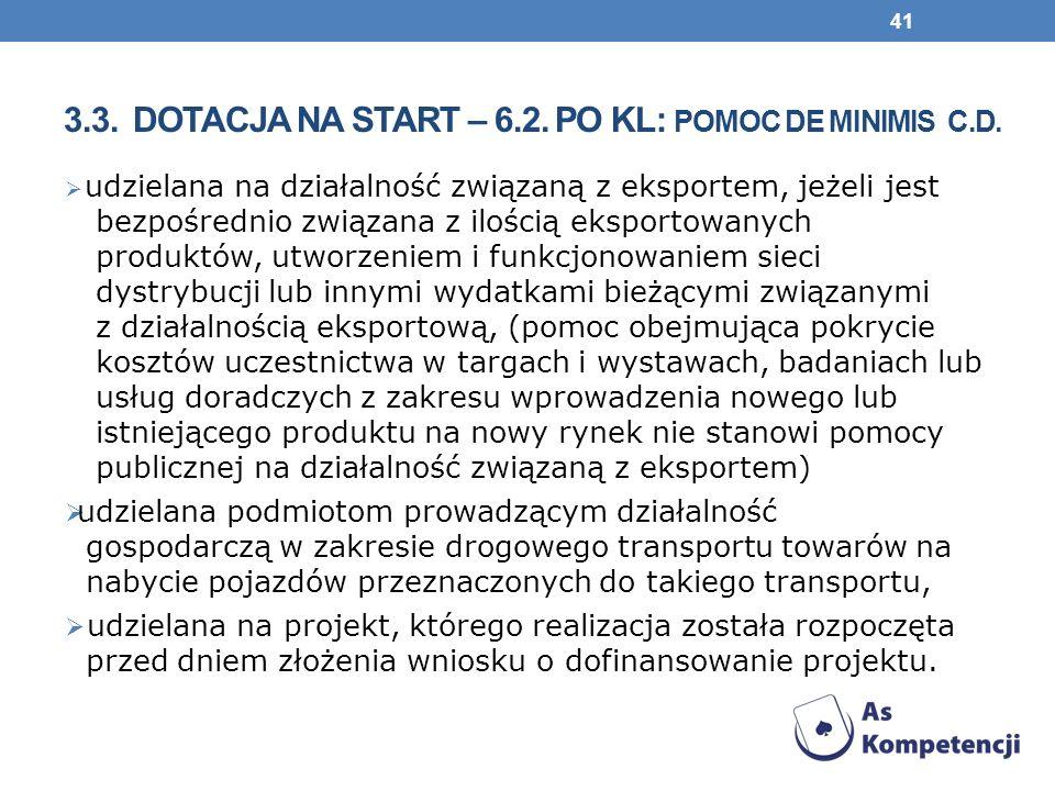 3.3. Dotacja na start – 6.2. PO KL: pomoc de minimis c.d.