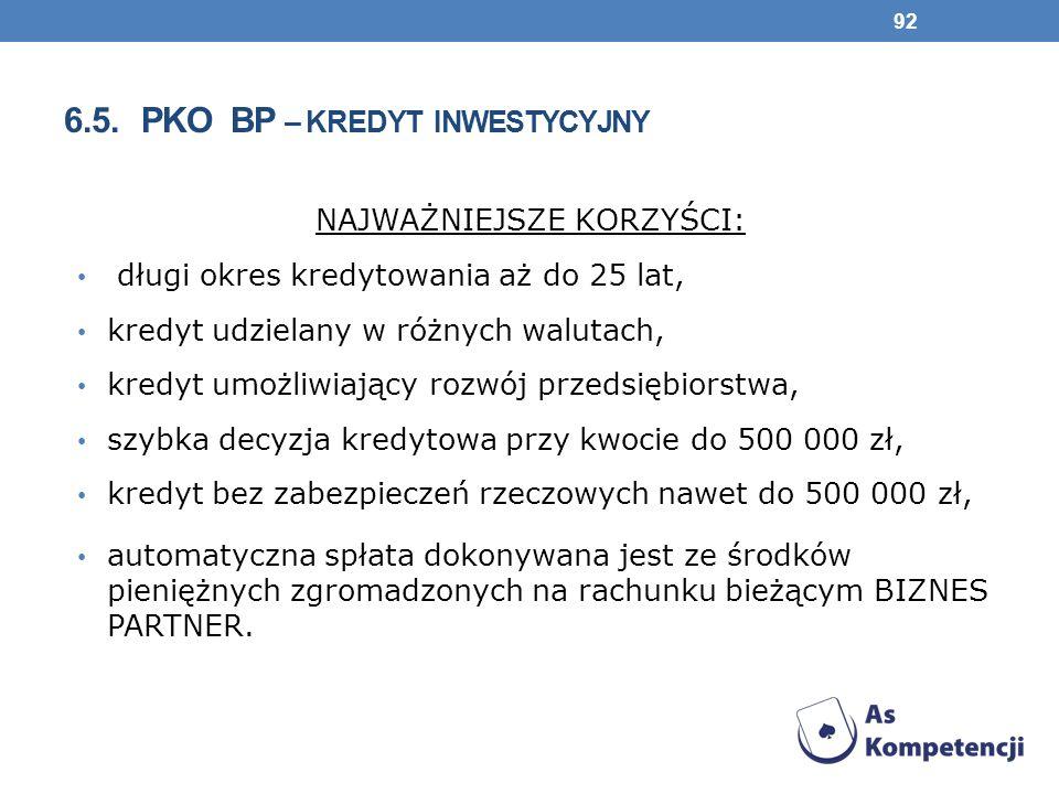 6.5. pko bp – kredyt inwestycyjny