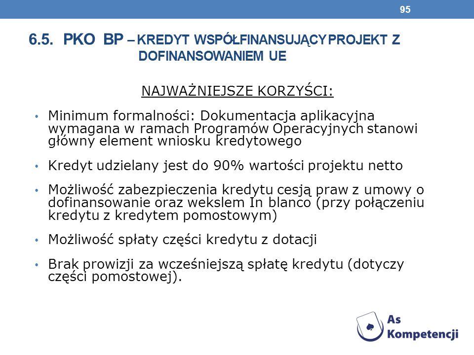 6.5. pko bp – kredyt współfinansujący projekt z dofinansowaniem ue