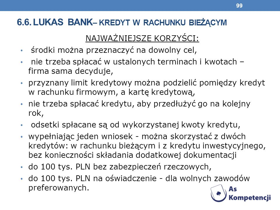 6.6. lukas bank– kredyt w rachunku bieżącym
