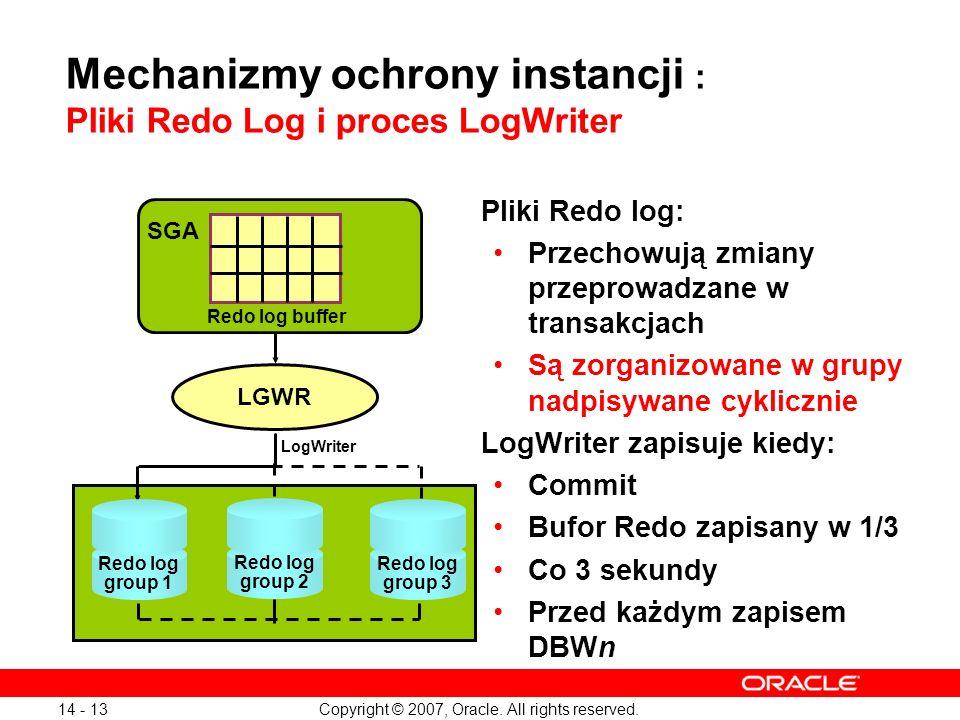 Mechanizmy ochrony instancji : Pliki Redo Log i proces LogWriter