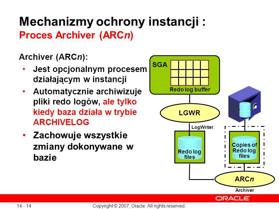 Mechanizmy ochrony instancji : Proces Archiver (ARCn)