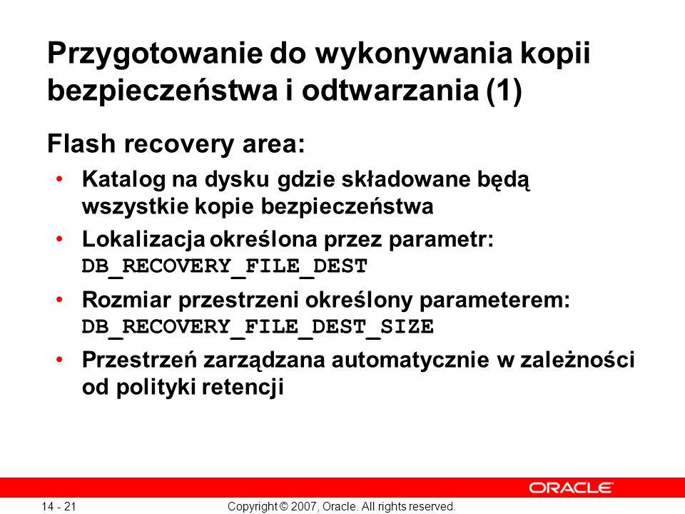 Przygotowanie do wykonywania kopii bezpieczeństwa i odtwarzania (1)