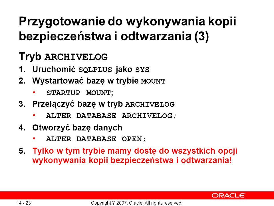 Przygotowanie do wykonywania kopii bezpieczeństwa i odtwarzania (3)