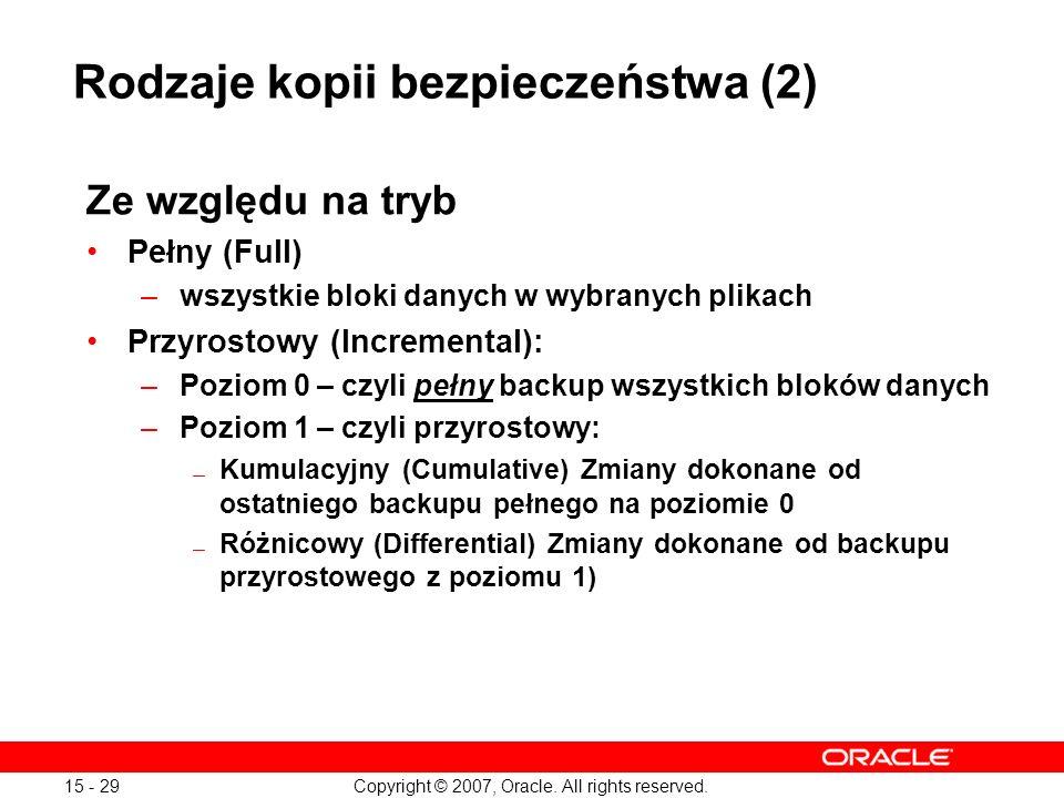 Rodzaje kopii bezpieczeństwa (2)