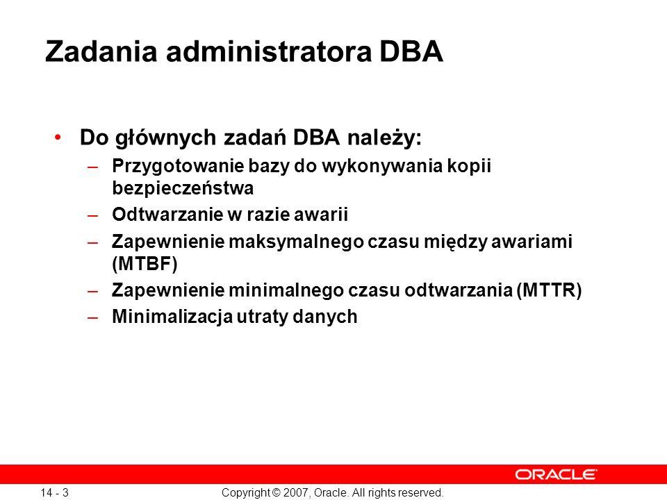 Zadania administratora DBA