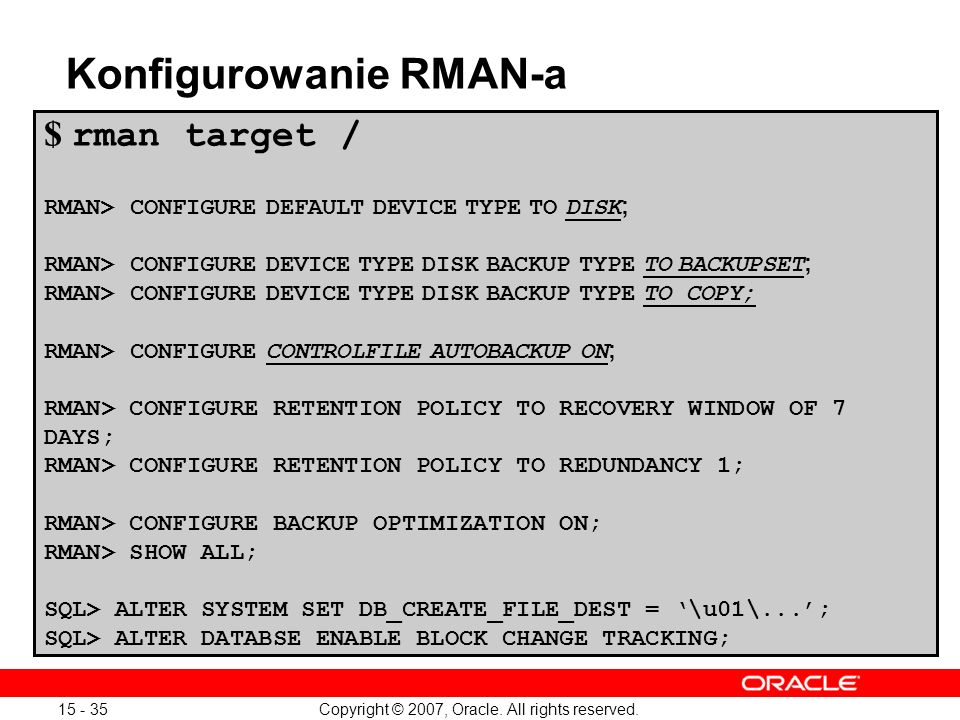 Konfigurowanie RMAN-a