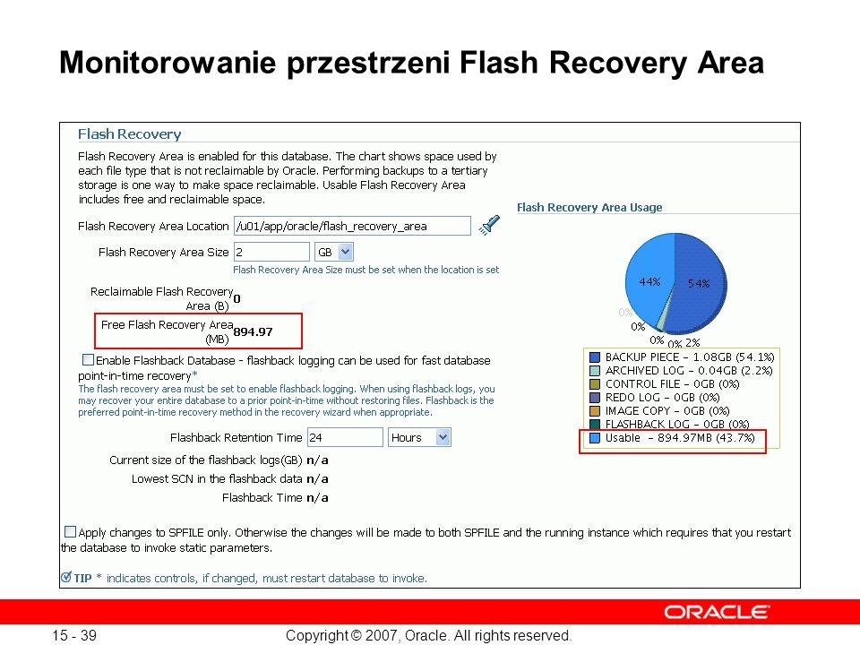 Monitorowanie przestrzeni Flash Recovery Area