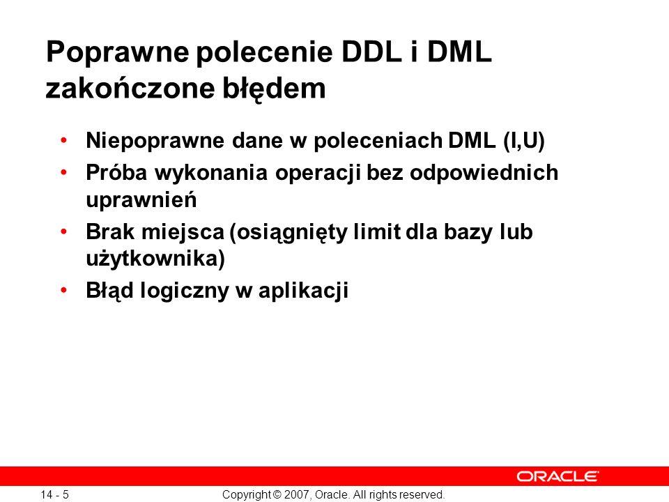 Poprawne polecenie DDL i DML zakończone błędem