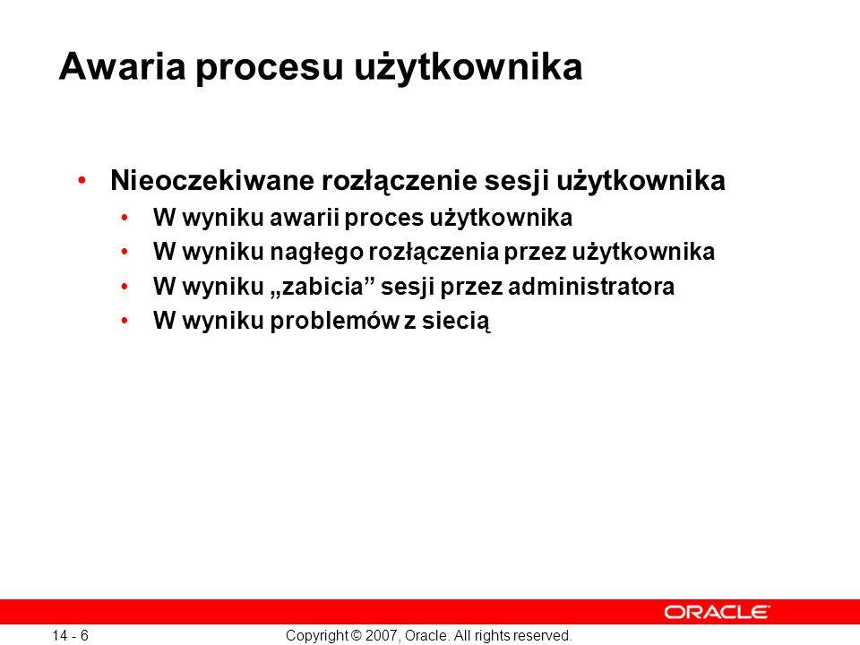 Awaria procesu użytkownika
