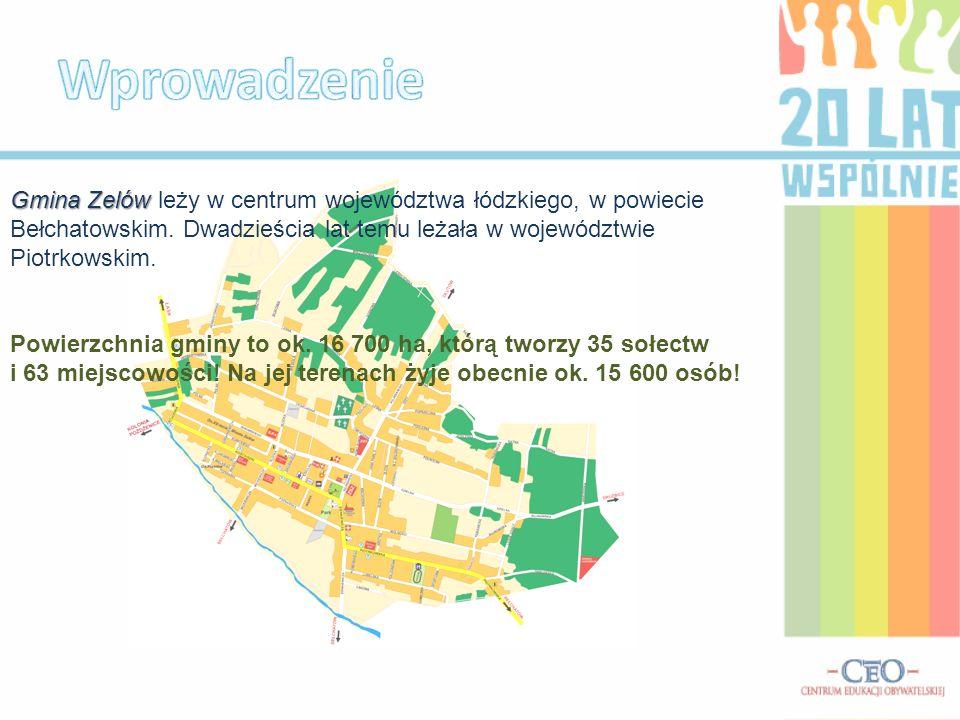 Wprowadzenie Gmina Zelów leży w centrum województwa łódzkiego, w powiecie Bełchatowskim. Dwadzieścia lat temu leżała w województwie Piotrkowskim.