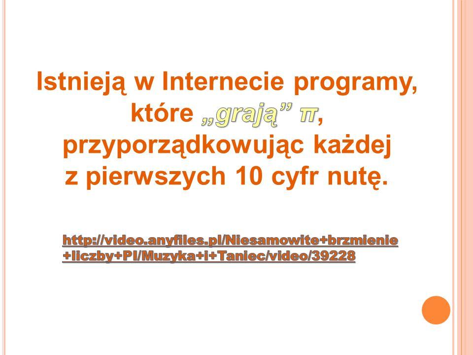 """Istnieją w Internecie programy, które """"grają π, przyporządkowując każdej"""