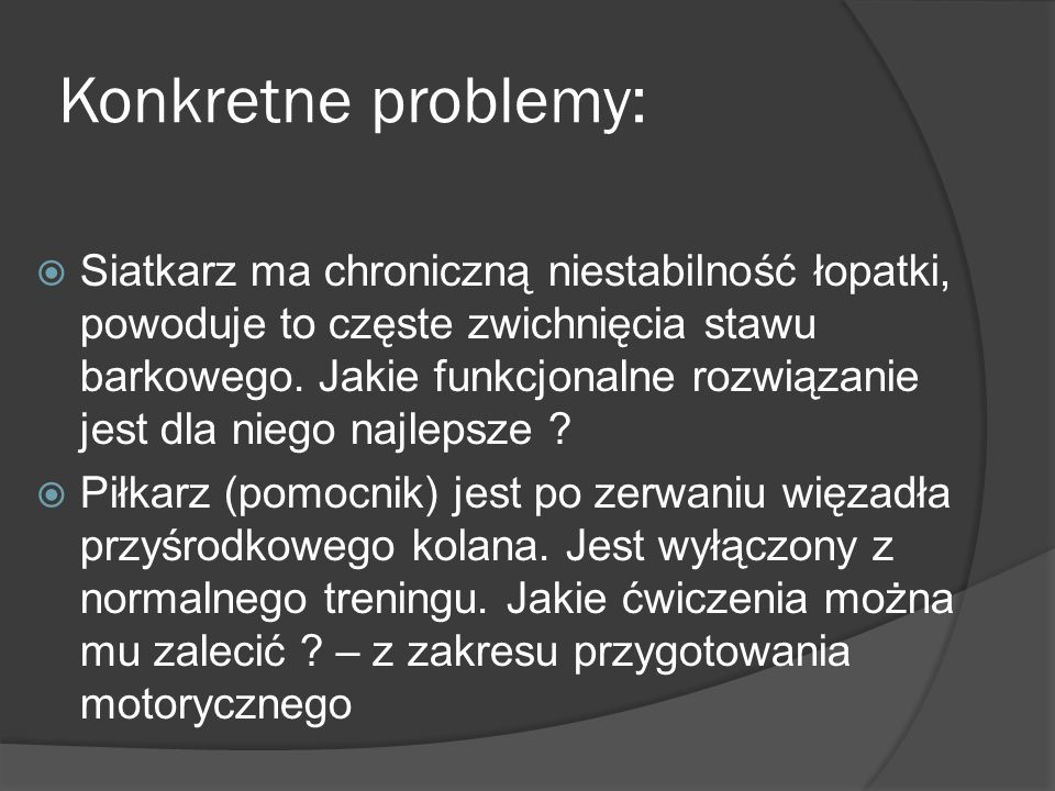 Konkretne problemy: