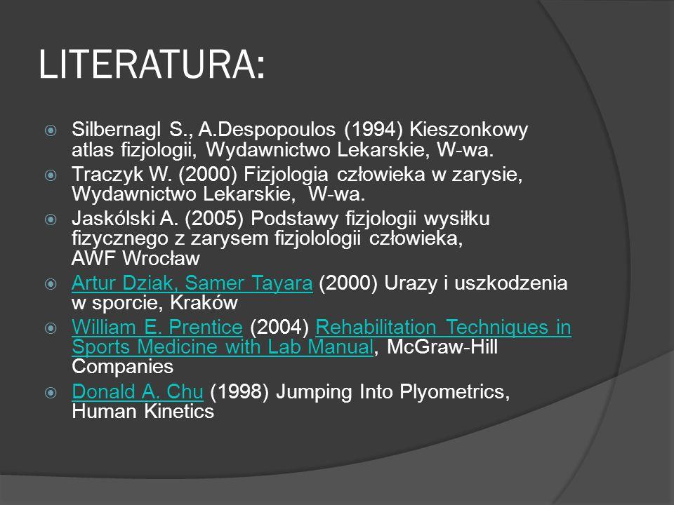 LITERATURA: Silbernagl S., A.Despopoulos (1994) Kieszonkowy atlas fizjologii, Wydawnictwo Lekarskie, W-wa.
