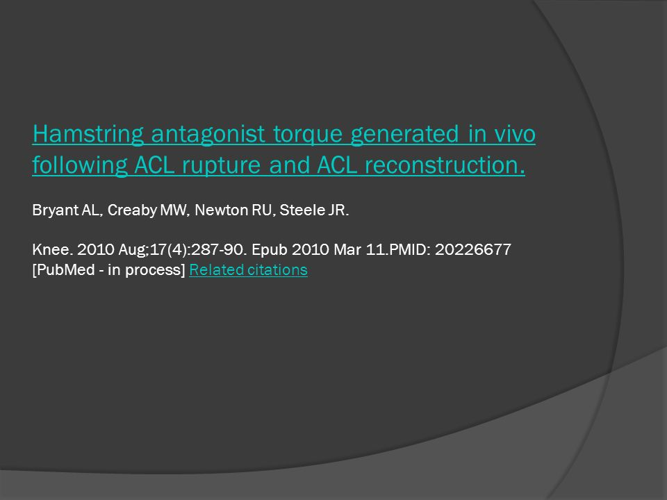 Hamstring antagonist torque generated in vivo following ACL rupture and ACL reconstruction.