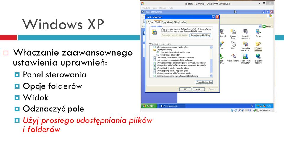 Windows XP Właczanie zaawansownego ustawienia uprawnień: