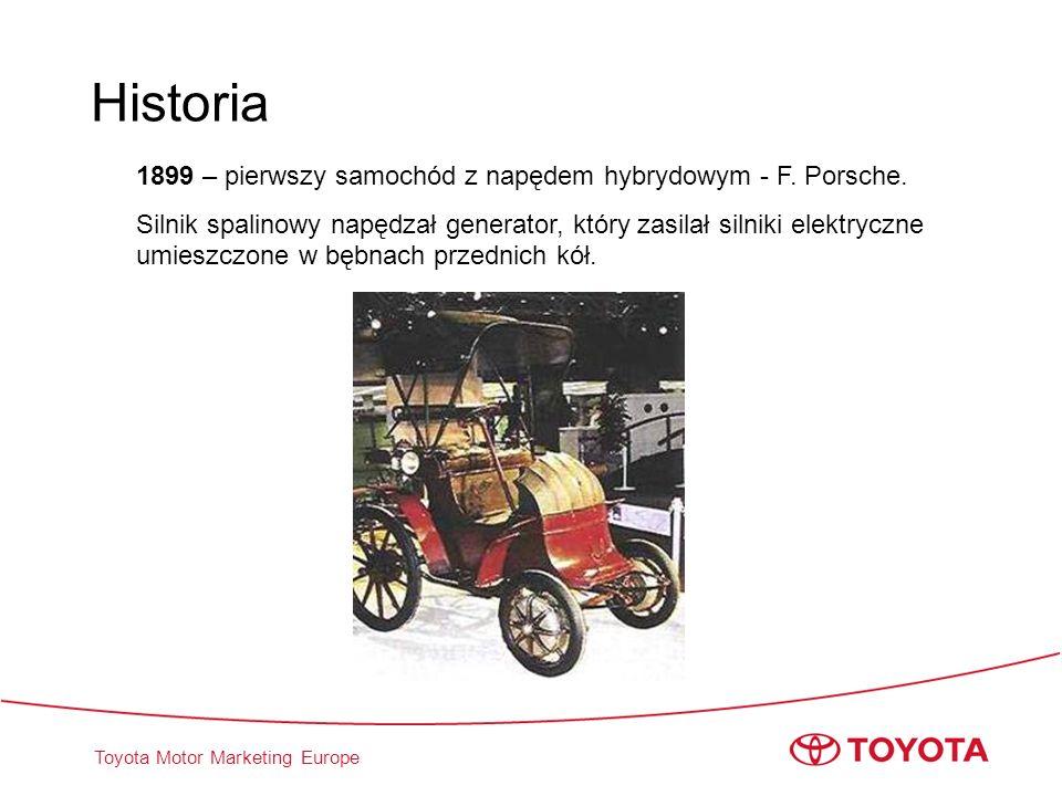 Historia 1899 – pierwszy samochód z napędem hybrydowym - F. Porsche.