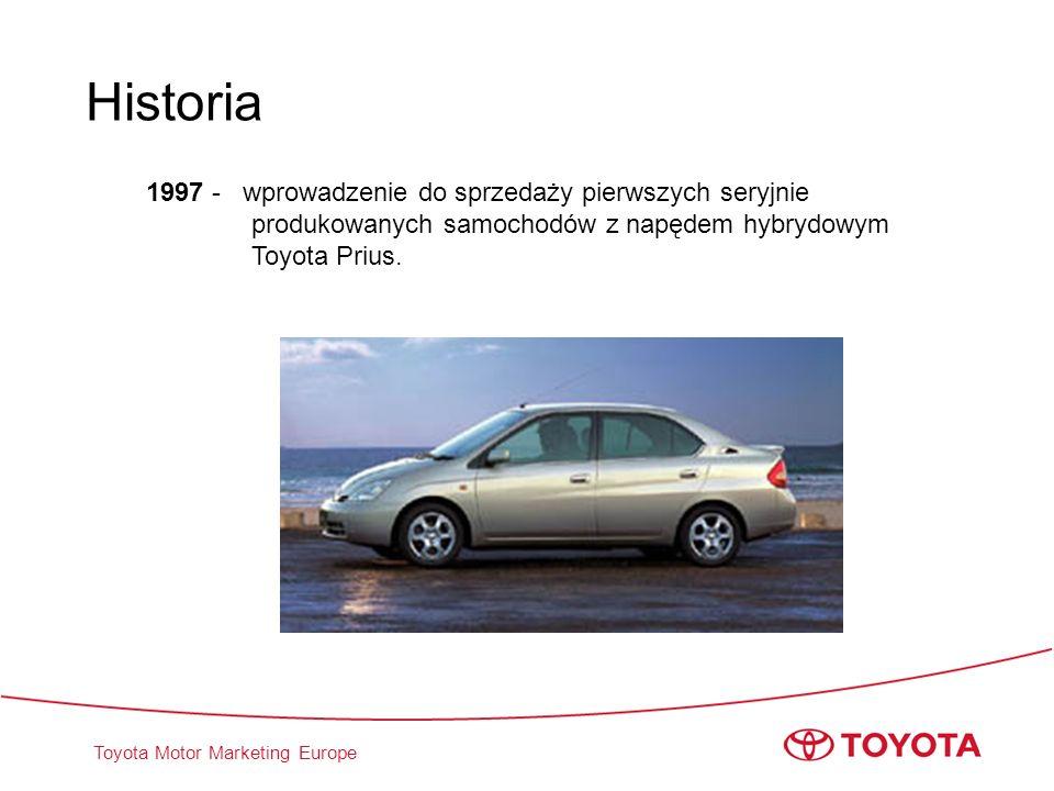 Historia 1997 - wprowadzenie do sprzedaży pierwszych seryjnie produkowanych samochodów z napędem hybrydowym Toyota Prius.