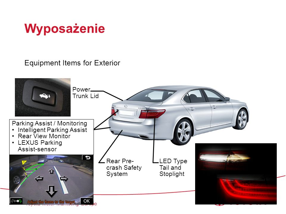 Wyposażenie Equipment Items for Exterior Power Trunk Lid