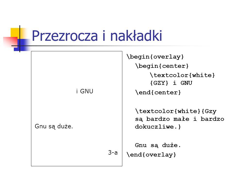 Przezrocza i nakładki GZY i GNU. Gzy są bardzo małe i bardzo dokuczliwe. Gnu są duże.